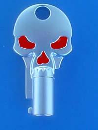 Satin Chrome / Red Skull Key