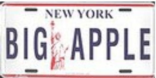 New York Big Apple License Plates